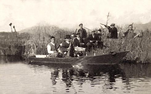 Cacciatori sul lago di Massacciuccoli, la tela
